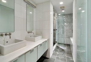 Modern Master Bathroom with European Cabinets, frameless showerdoor, Dupont Corian Designer White, Master bathroom, Flush