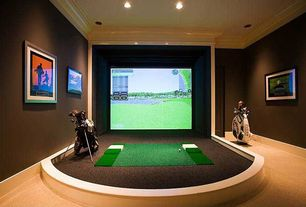 Traditional Game Room with Paint, Carpet, Putting green, can lights, Standard height, Crown molding, Golf room