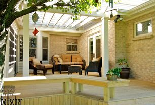 Traditional Deck with Trellis, Rst slate 8-piece sofa, club chair and ottoman patio furniture set outdoor, French doors