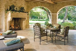 Mediterranean Porch with Raised beds, Pathway, exterior stone floors, outdoor pizza oven