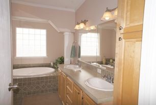 Traditional Master Bathroom with Paint 1, drop in bathtub, flat door, picture window, Standard height, Master bathroom