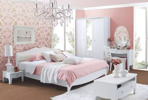 Traditional Guest Bedroom with French doors, Chandelier, picture window, Crown molding, Concrete floors, interior wallpaper