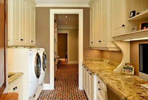 Traditional Laundry Room with Built-in bookshelf, MS International Granite Solarius, Dura Supreme Cabinetry Integra