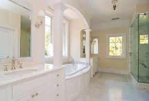 Traditional Master Bathroom with Master bathroom, flush light, Casement, Bathtub, Undermount sink, Inset cabinets, Shower