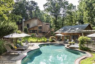 Rustic Swimming Pool with picture window, exterior stone floors, Pathway, Deck Railing, sliding glass door, Other Pool Type