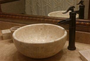 Mediterranean Master Bathroom with Master bathroom, specialty door, Standard height, Limestone counters, Vessel sink, Shower