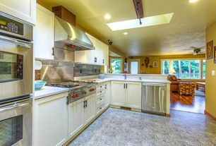 Traditional Kitchen with dishwasher, Stainless Steel, double wall oven, Standard height, full backsplash, Limestone counters