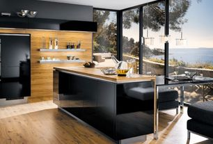 Contemporary Kitchen with Pastel furniture - monaco rectangular black glass dining table in chrome, picture window, Paint 1