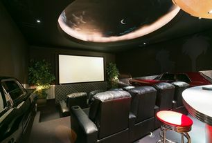 Eclectic Home Theater with interior wallpaper, Carpet