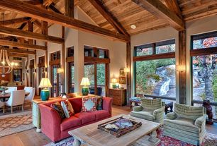 Craftsman Living Room with Wooden wine barrel stave chandelier, Transom window, Exposed beam, High ceiling, Hardwood floors