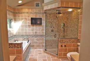 Eclectic Full Bathroom with Emser Tile Travertine Ancient Tumbled Mocha 6 x 6, Handheld showerhead, flush light, Rain shower