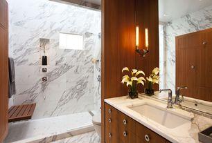 Contemporary Full Bathroom with Standard height, frameless showerdoor, European Cabinets, three quarter bath, Flush, Shower