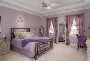 Eclectic Kids Bedroom with Carpet, Crown molding, Ceiling fan