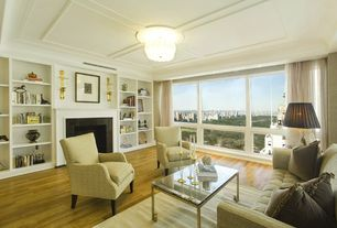 Contemporary Living Room with Laminate floors, Built-in bookshelf, flush light, Era rectangular coffee table, Box ceiling