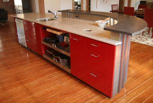 "Modern Kitchen with Concrete counters, Opella 13200.04610"" x 13"" rectangular self rimming / undermount bar sink"