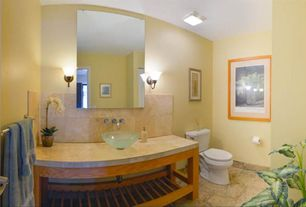 Contemporary Full Bathroom with Paint 1, Full Bath, Wall Tiles, Signature Hardware Frosted Glass Round Vessel, Vessel sink