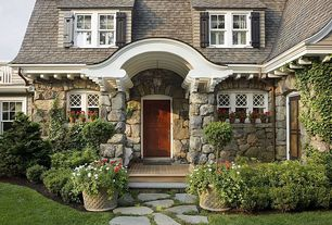 Cottage Front Door with Brookline, massachusetts, exterior stone floors, Gambrel roof, Pathway, Exterior stone walls