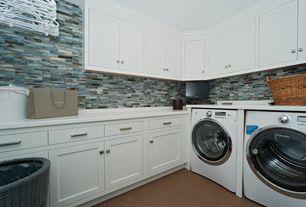 Contemporary Laundry Room with Full tile backsplash, Concrete tile , flush light, Cabinet finish, Built-in bookshelf