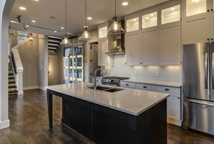 Traditional Kitchen with Multiple Sinks, Flat panel cabinets, Multiple Refrigerators, Pendant light, gas range, One-wall