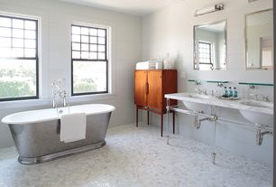 "Traditional Master Bathroom with Carrara (carrera) bianco polished 2"" hexagon marble mosaic tile, penny tile floors, Bathtub"