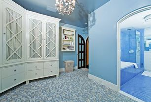 Traditional Master Bathroom with French doors, Master bathroom, flush light, frameless showerdoor, Glass panel, Flush