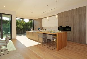 Contemporary Kitchen with Corian counters, Breakfast nook, One-wall, European Cabinets, Armstrong Flooring - Maple in Natural