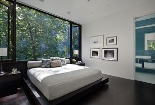 Modern Master Bedroom with Alaska Platform Bed with Built in Night Stands, Paint, Hardwood floors, Casement, can lights