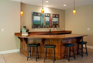 Traditional Bar with Italian Elegance Canvas Art by David Lloyd Glover, Concrete tile , Pendant light, Built-in bookshelf
