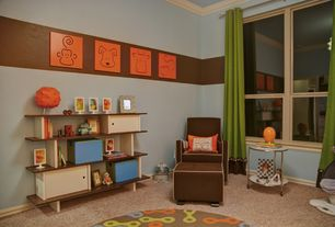 Contemporary Kids Bedroom with Spot On Square Animal Wall Art Orange, Crown molding, Oeuf Classic Walnut Mini Library, Carpet