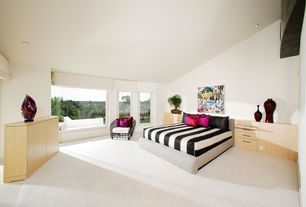 Contemporary Master Bedroom with picture window, can lights, High ceiling, Carpet