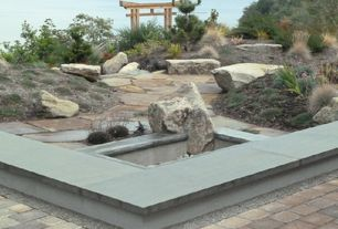Asian Landscape/Yard with exterior stone floors, Fire pit, Fence, Arbor, Pathway