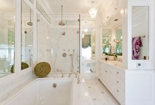Traditional Master Bathroom with Master bathroom, Rain shower, Undermount sink, Crown molding, Pendant light, Complex Marble