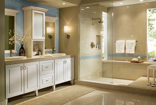 Traditional Full Bathroom with frameless showerdoor, Wall sconce, Raised panel, Vessel sink, Quartz vanity top, can lights