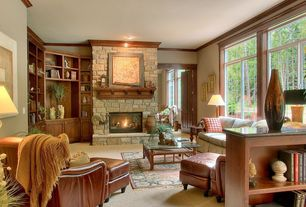 Craftsman Kitchen with Paint 1, Eldorado stone fieldledge - padova, Simple granite counters, Wood frame windows, Fireplace