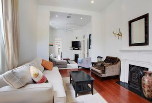 Traditional Living Room with Standard height, Wall sconce, can lights, Hardwood floors, metal fireplace, Fireplace