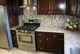 Traditional Kitchen with Raised panel, limestone tile floors, MS International Crema Caramel Granite, L-shaped, Ceramic Tile