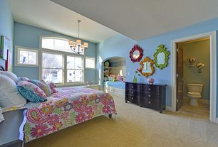 Traditional Kids Bedroom with Funky Lime Green Mirror Upcycled Fun Retro Painted Mirror, High ceiling, Window seat, Carpet