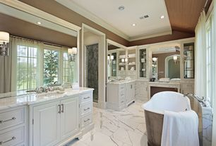 Traditional Master Bathroom with frameless showerdoor, Inset cabinets, Raised panel, Complex marble counters, Glass panel