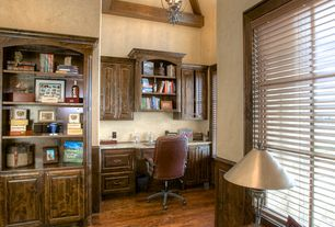 Traditional Home Office with Exposed beam, Cathedral ceiling, Hardwood floors, can lights, Built-in bookshelf