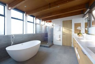 Contemporary Master Bathroom with Flush, Winifred resin tub, Undermount sink, Handheld showerhead, Complex marble counters