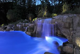 Rustic Swimming Pool with Fountain, Pond, exterior stone floors, Pathway