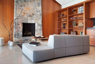 Contemporary Living Room with Crown molding, stone fireplace, Concrete floors, High ceiling, Built-in bookshelf