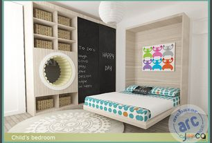 Contemporary Kids Bedroom with White Chinese Japanese Paper Lantern, Flat Black Chalkboard Paint