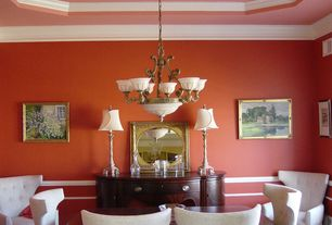Traditional Dining Room with Wainscotting, Paint 1, Standard height, Paint 2, Crown molding, Chair rail, Chandelier