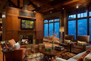Contemporary Living Room with Hardwood floors, Fireplace, High ceiling, Wood paneling, insert fireplace, can lights