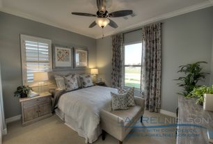 Traditional Guest Bedroom with Standard height, Crown molding, Ceiling fan, Carpet, double-hung window