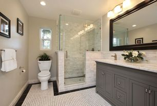 Traditional Master Bathroom with Custom Shower Doors (Frameless), Ms International Alpine White Marble, Raised panel, Flush