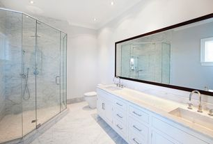 Contemporary Full Bathroom with Full Bath, Flat panel cabinets, can lights, Complex marble counters, Handheld showerhead