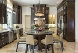 Traditional Kitchen with Flush, Stainless steel appliances, can lights, full backsplash, two dishwashers, U-shaped, Prep sink