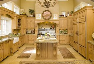 Mediterranean Kitchen with Large Ceramic Tile, Kitchen island, Dubois Traditional Acanthus Kitchen Corbel, Cathedral ceiling